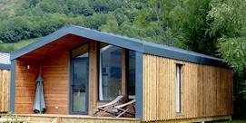 Wooden chalet in campsite